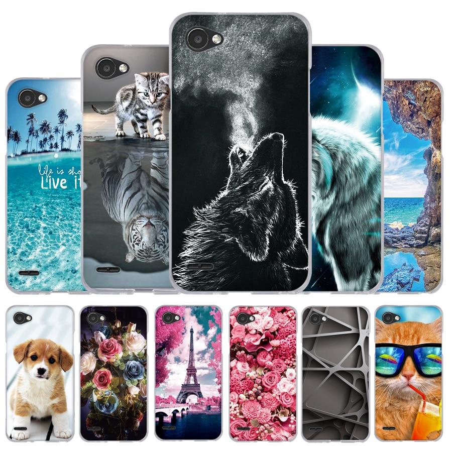 "Case For LG Q6 alpha Q6a Q 6 M700 Case Silicone Soft TPU Cover For LG Q6 5.5"" Back Cover Cute Cat Flower Phone Cases Funda Capa"