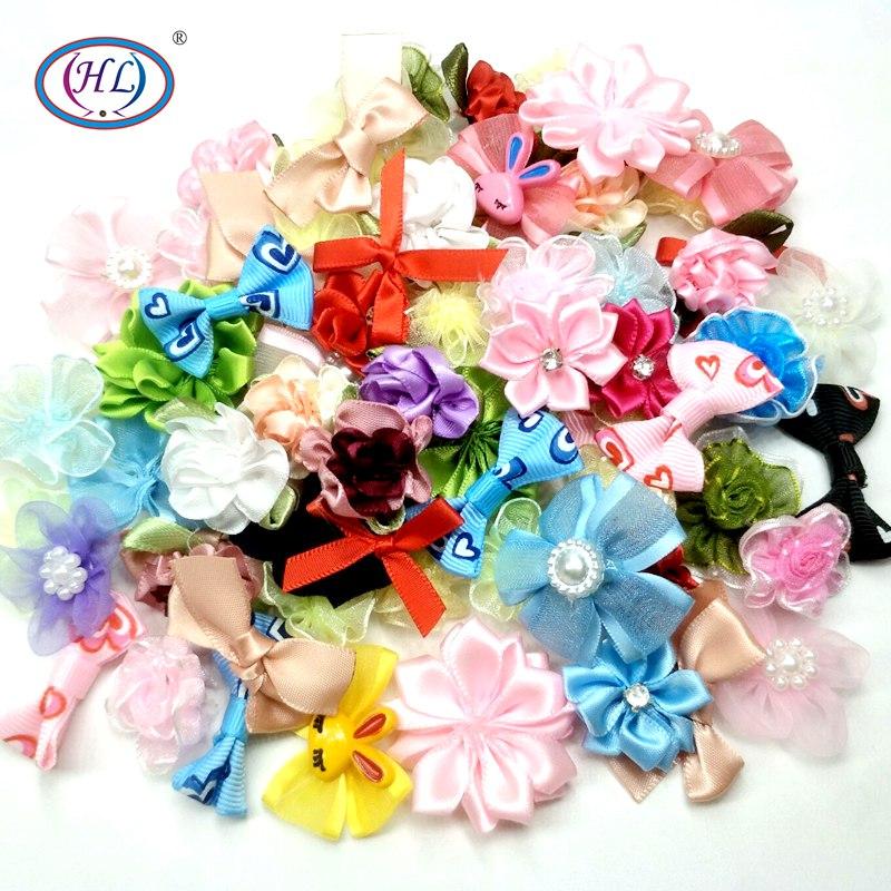 HL 10 uds/30 Uds variado hecho a mano cinta flores decorativas de la boda ropa cabeza joyería DIY apliques F006