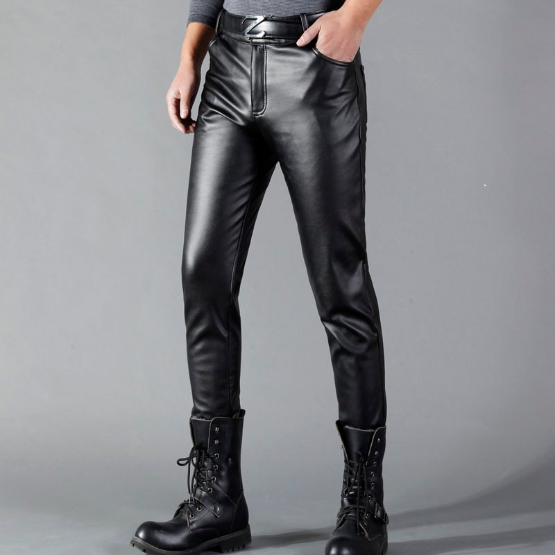 Thoshine Brand Summer Men Leather Pants Skinny Fit Elastic Style Fashion PU Leather Trousers Motorcy