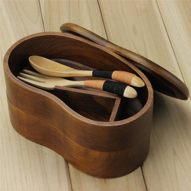AOOSY-boîte à nourriture de luxe de Style japonais   Boîte Portable à Double couche en bois pour Sushi Bento, conteneur de nourriture en bois, boîtes à Bento de mode