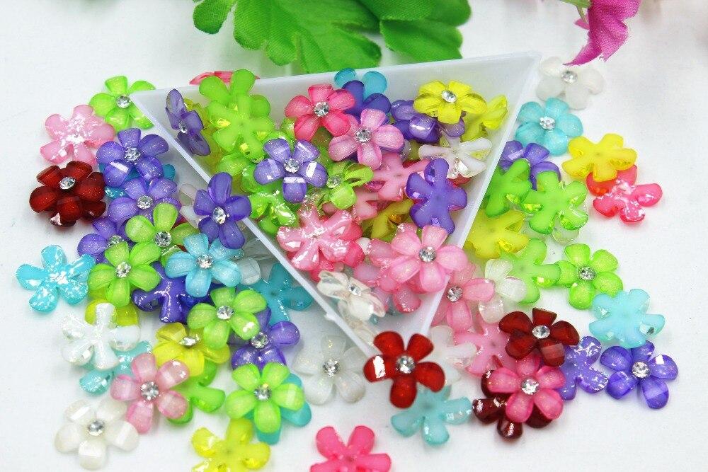 100 unids/lote resina plana tamaño pequeño flores mezcla colores DIY accesorios de resina, cabujones 12mm