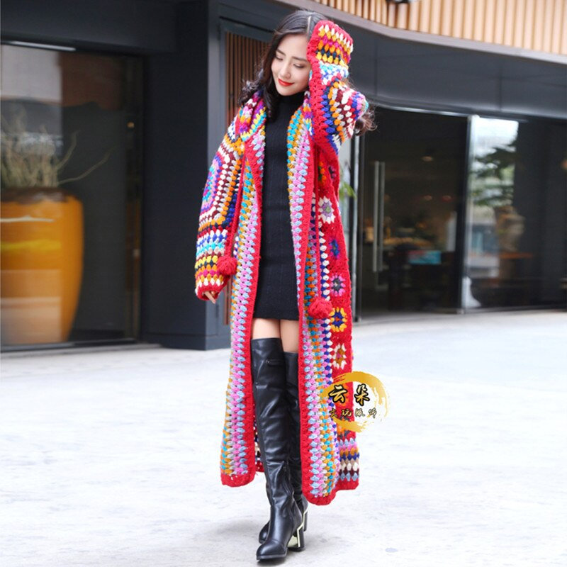 Free Shipping 2021 New 100% wool Coat For Women Plus Size Loose Outerwear Long Sleeve Maxi Hand Made National Sweaters With Hood enlarge