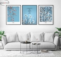 fresh literary flowers 3 pieces decorative painting modular picture wall art canvas painting for living room no framed