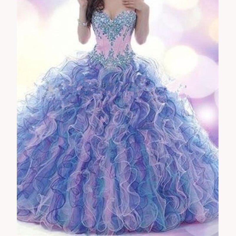 Vestidos De Noiva 2019 Organza Roxo vestido de Baile Querida Beading Até O Chão-Comprimento Quinceanera Vestidos De 15 Anos Vestidos Longo