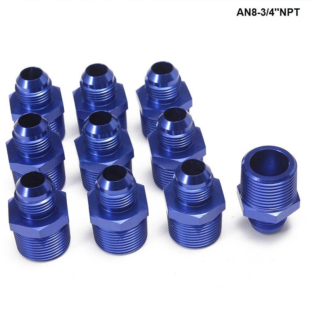 10 unids/lote recto al óleo de hombre enfriador de aceite de combustible adaptador de montaje de manguera AN8-3/4 NPT