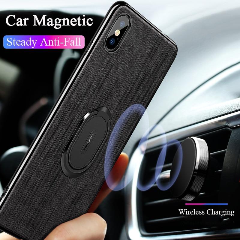 Funda magnética de anillo de soporte de coche para iPhone XS Max XR X 10 iPhone 7 plus 7 8 Plus duro Delgado cubierta para iPhone 6 S 6 s Plus Capa