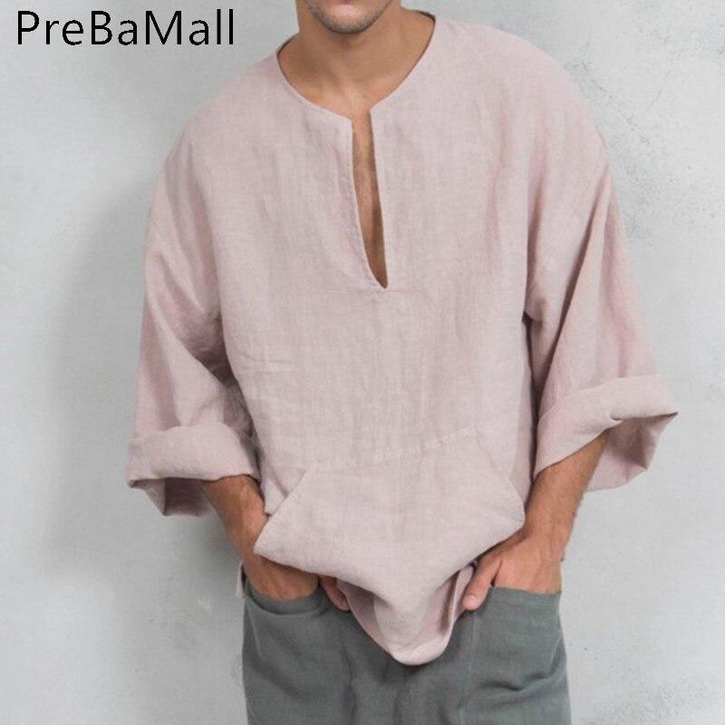 2019 estilo étnico T camisa de los hombres de moda de lino Camiseta Hombre manga corta Camiseta Casual 3XL Tops de verano A01
