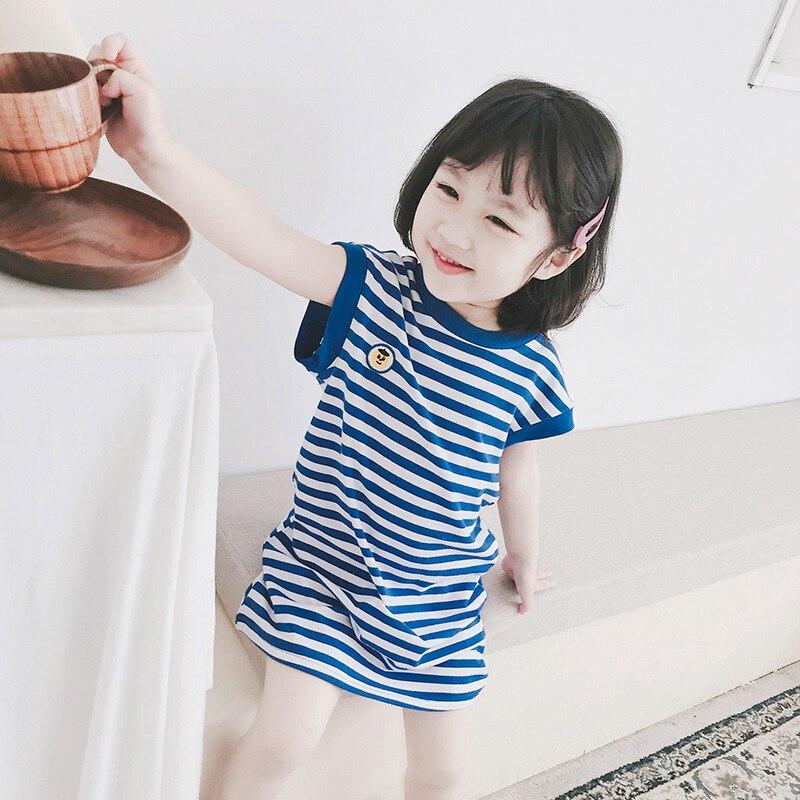 Summer 2019 new girl baby navy blue striped sleeveless t-shirt dress all cotton dress Cotton  Mid-Calf  Striped