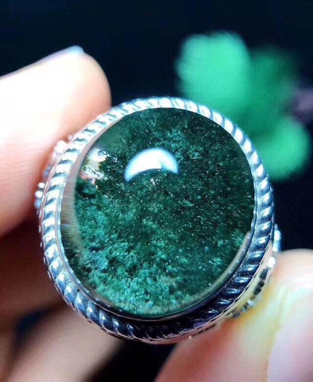 Anillo de cristal de cuarzo fantasma verde Natural genuino mujer hombre amor regalo 17x15mm cuentas transparentes Lucky AAAAA anillo ajustable joyería