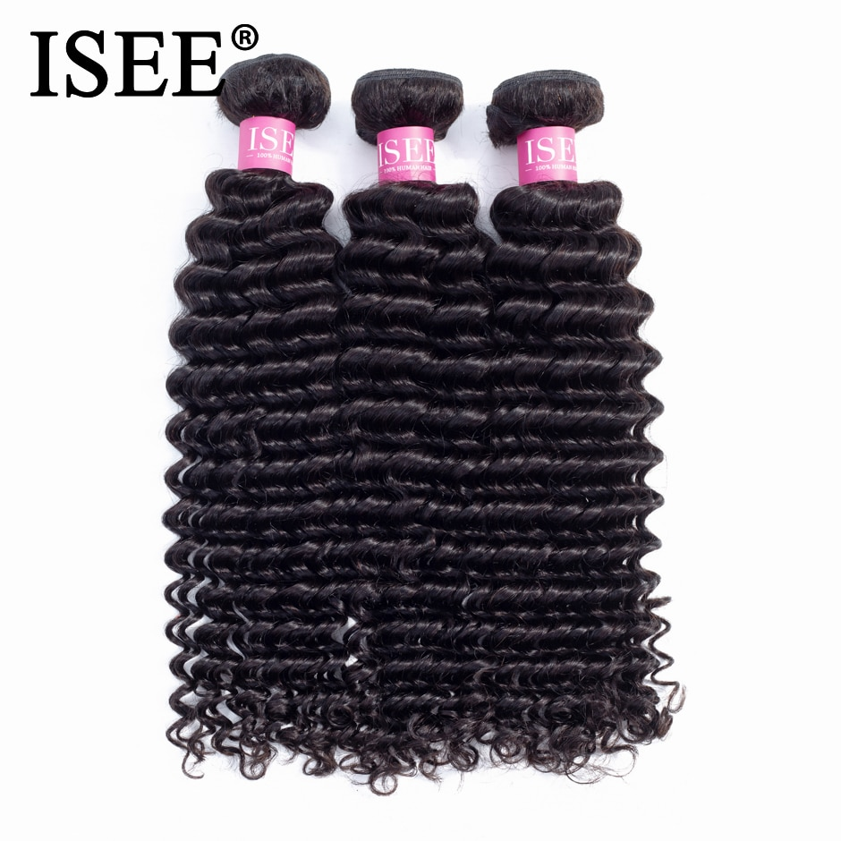 البرازيلي موجة عميقة الشعر البشري حزم اللون الطبيعي شحن مجاني 3/4 حزم الشعر التمديد ISEE ضفيرة شعر برازيلي حزم