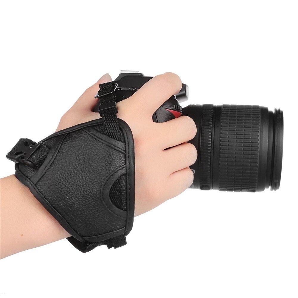 YIXIANG DSLR Cámara PU agarre de cuero rápido correa de muñeca mano suave agarre Cámara bolsa Universal para Canon Nikon Sony Olympus negro