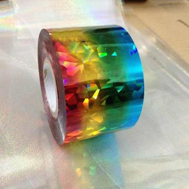 1 rolki 120M * 4CM kolorowy diament folie do transferu paznokci naklejki Nail Art kalkomanie okłady, DIY paznokci uroda naklejki rzemiosło akcesoria