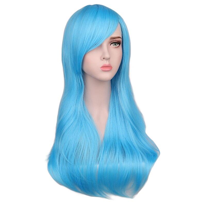 QQXCAIW נשים ארוך גלי פאת קוספליי אדום רוז ורוד שחור כחול רסיס אפור חום 70 Cm טמפרטורת סינטטי שיער פאות