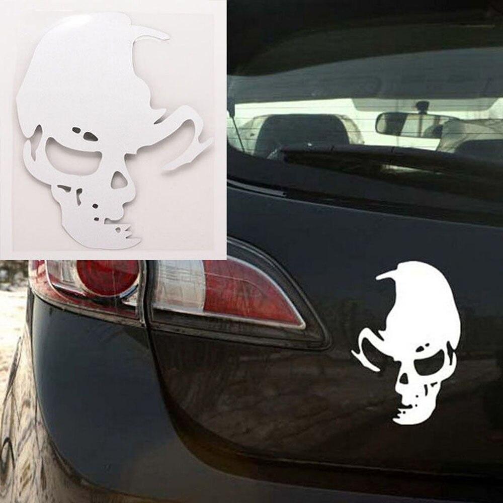 4 pc Bom Preto Car Window Bumper Vinil Reflexivo Decalque Do Crânio do Fantasma Fantasma Adesivos