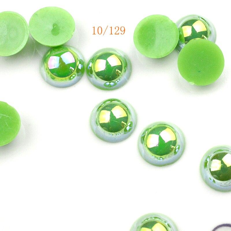 FLTMRH 10 stücke 14mm AB hälfte Mit Loch ABS Imitation Perle Perlen Runde Kunststoff Acryl Spacer Perlen für Schmuck, die Entdeckungen