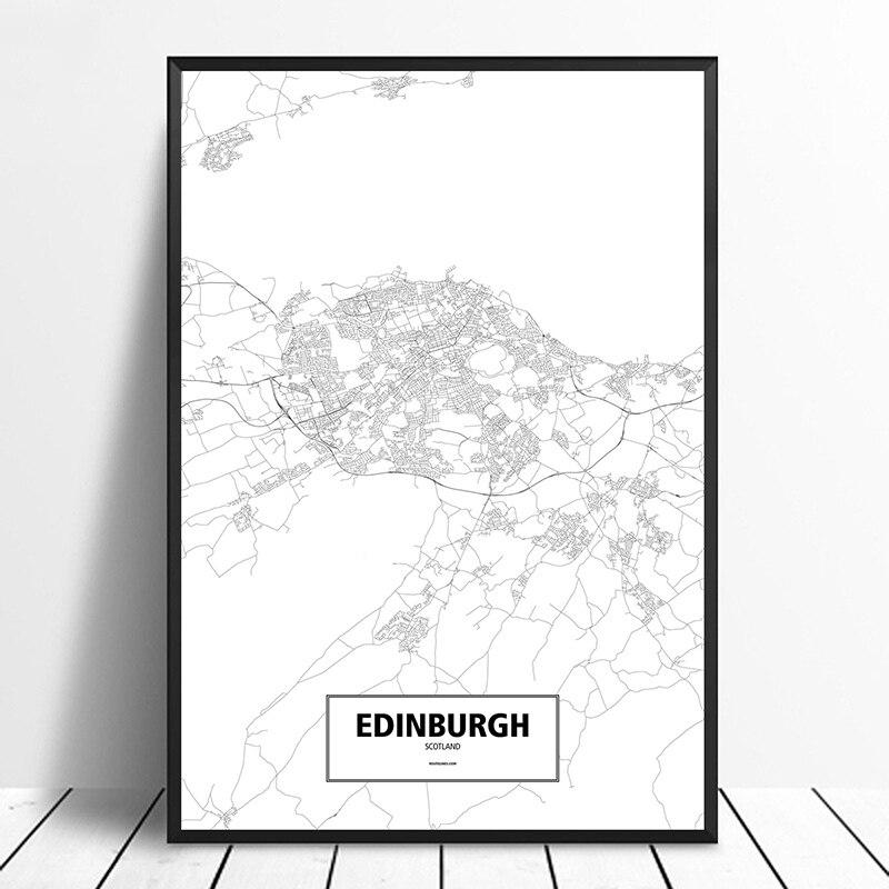Póster de mapa de ciudades del mundo personalizado en blanco y negro con estampado de lienzo de estilo nórdico para decoración del hogar