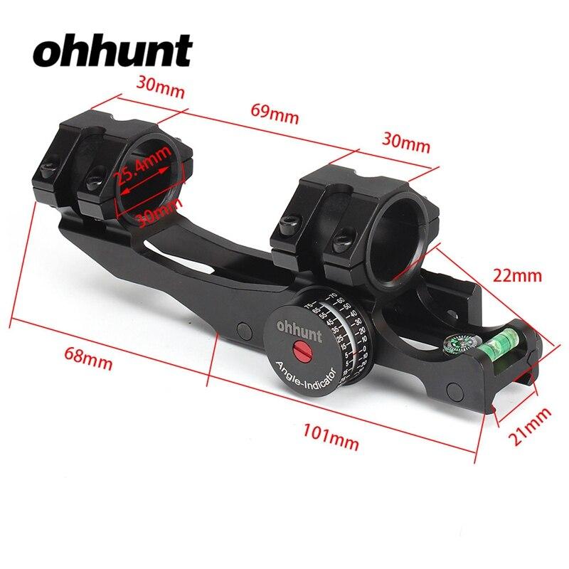 Ohhunt 25.4mm 30mm przesunięcie dwukierunkowe Picatinny Weaver zakres pierścienie góra w/kąt Cosine wskaźnik zestaw i Bubb poziom kompas