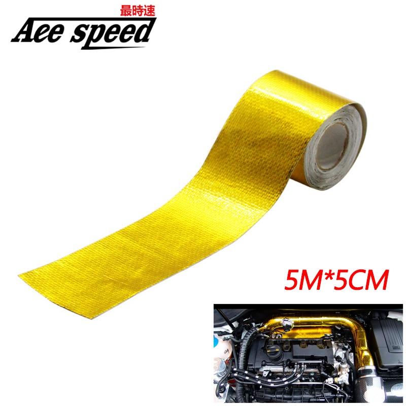 2 zoll * 5M Spiegeln EINE Gold Thermische Band Intake Wrap Reflektierende Wärme Barriere Selbstklebende Motor Wärme Schutz beständig