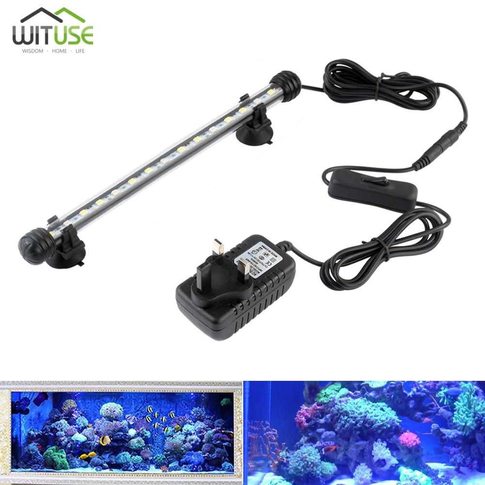 Lámpara LED para acuario, 19cm 28cm 38cm 48cm, Bombilla de tubo LED para acuario, barra azul blanca, sumergible, 100-240V, enchufe europeo y estadounidense