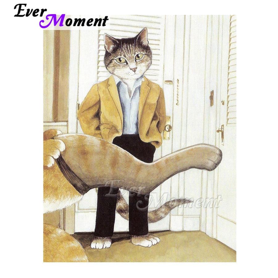 Calcetín de pata de caballero con Gato pintado Diamante de Ever Moment, decoración cuadrada completa, mosaico para el hogar, bordado de diamantes, punto de cruz 3F1820