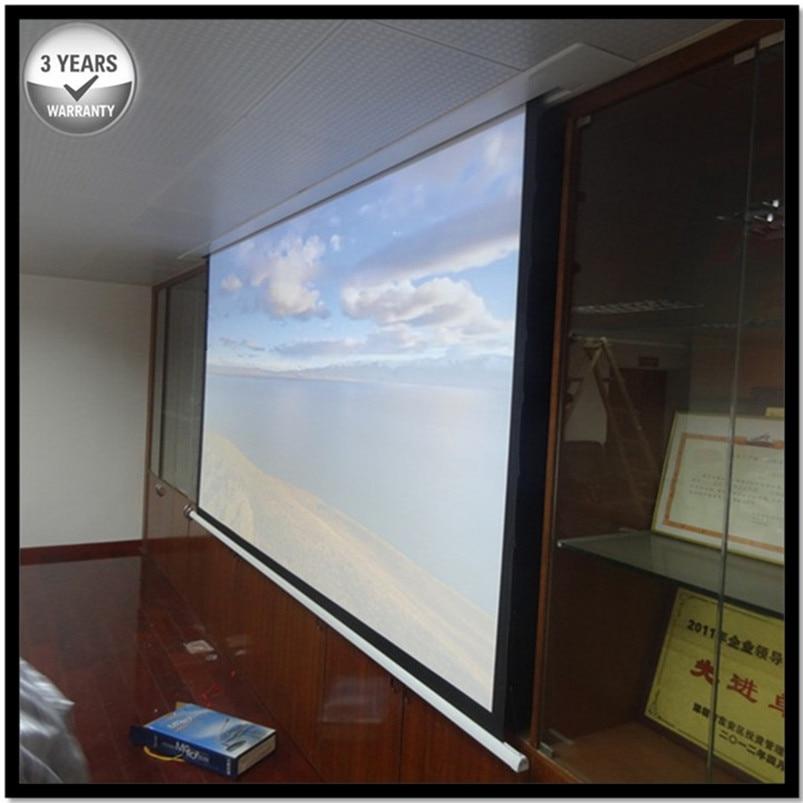 E6HWA 169 HDTV матовый белый Reccessed в потолок моторизованный выдвижной проектор экран с несколькими элементами управления для умного дома