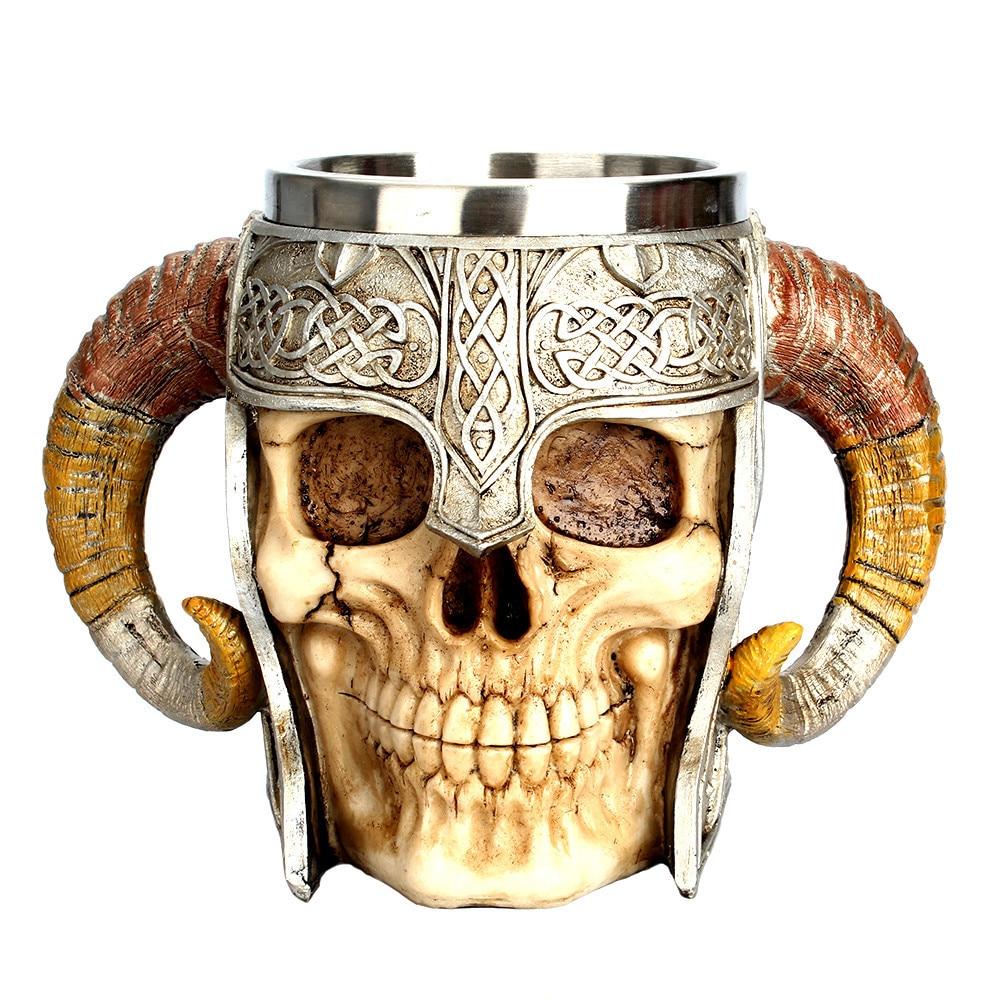 Coffee Mug Resin Striking Warrior Tankard Viking Skull Double Wall Christmas Cup Creative Thermos Products Home Decor Hot Sale