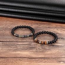 LKO hommes femme yeux de tigre Bracelet perlé noir Mantra perles de prière bouddha Bracelet pour femmes et hommes pour ami