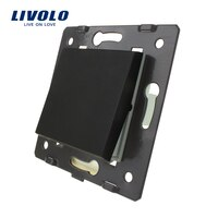 Livolo EU Standard One Gang  One Way Function Key For Wall Push Button Switch, Black  Plastic Materials,  C7-K1-12