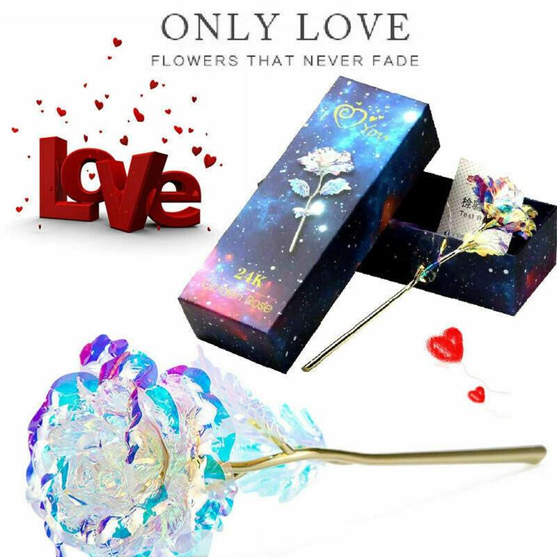 Fleur de la galaxie or plaquée 24K   Cadeau créatif de la saint valentin pour les amoureux, fleur romantique avec Base damour