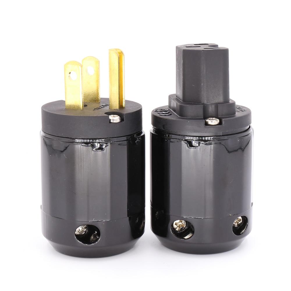 1pair New Brass P-029 & C-029 US Power Plug connector