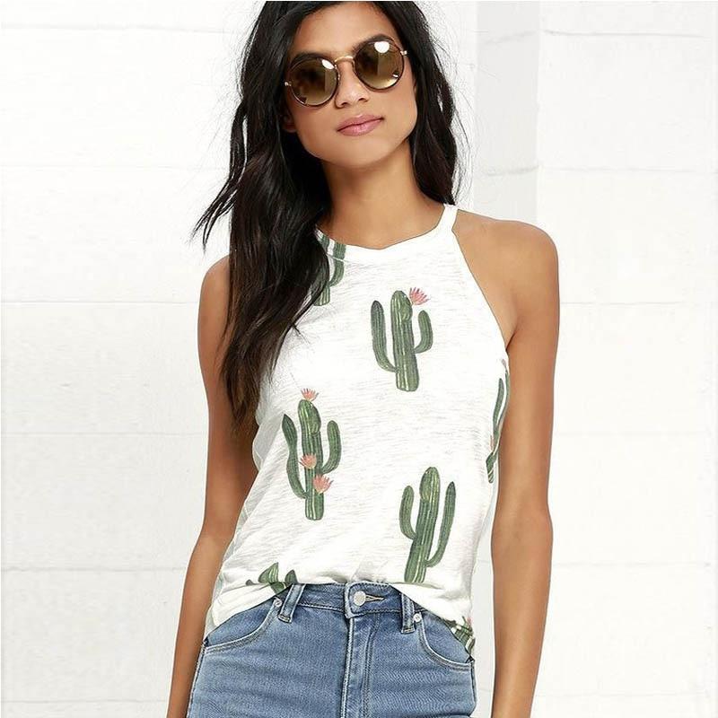 Sexy Ärmelloses Drucken Grün Pflanze Kaktus T Shirt Frauen Tops T Kawaii T-Shirt Weibliche Sommer Strand Casual T-shirt Blusas Dropship