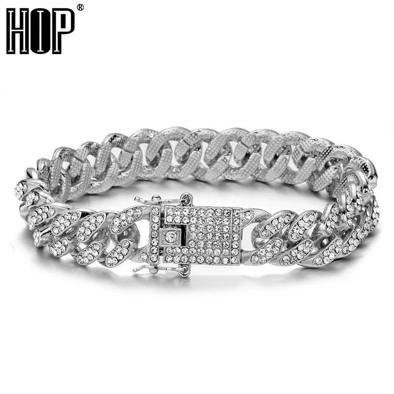 Hip hop bling iced out miami cubana link com borboleta completa aaa cristal pave pulseiras masculinas para jóias masculinas
