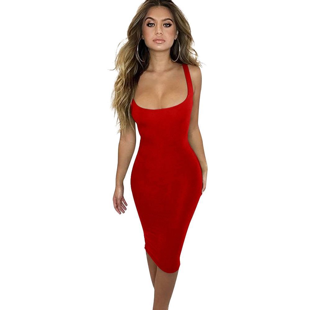 S-XL women sexy night evenging club party dress summer casual leisure dress slim tight vest dress