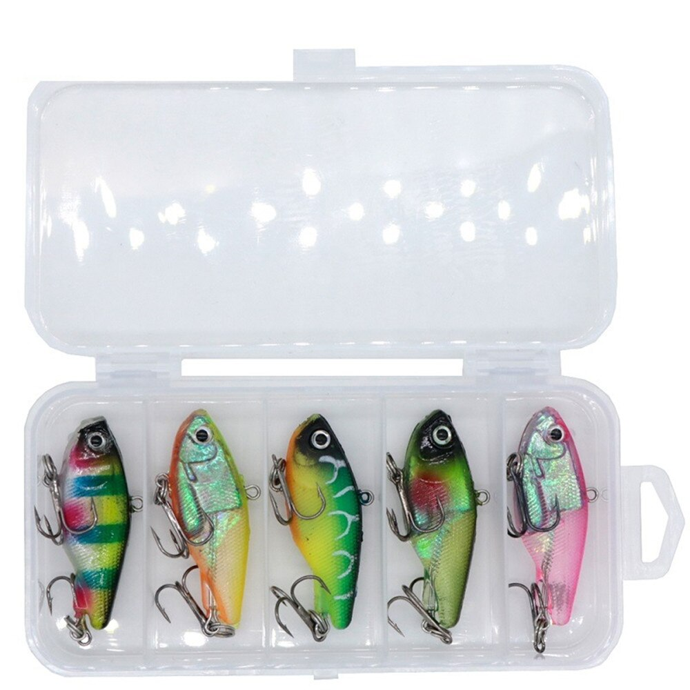 Nuevo 5 unids/caja Kit de Señuelos de pesca 5 colores suave PVC Artificial cebo con gancho de anclaje triple cebo equipo de pesca conjunto de pesca de invierno