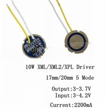 1 pièces 5 pièces cree xml LED XPL xml2 LED T6 U2 conducteur 17mm 20mm 3-4.2 V 2.2A 5-Mode LED Conducteur pour CREE XM-L LED Émetteur