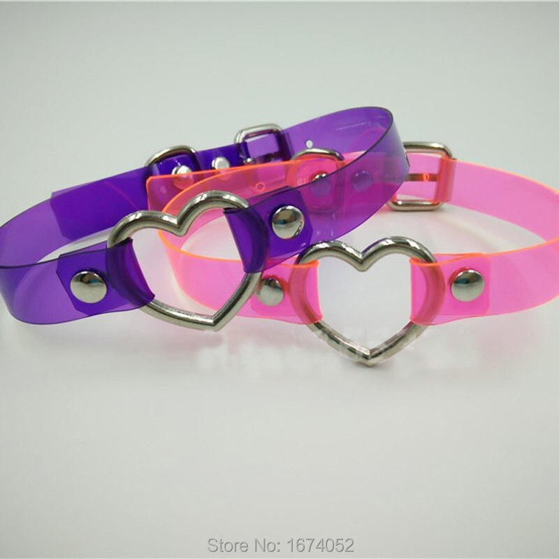 Harajuku Punk Gothic Rock Handmade Vinyl Choker Pink Purple Clear PVC Transparent Heart Collar Buckle Necklace