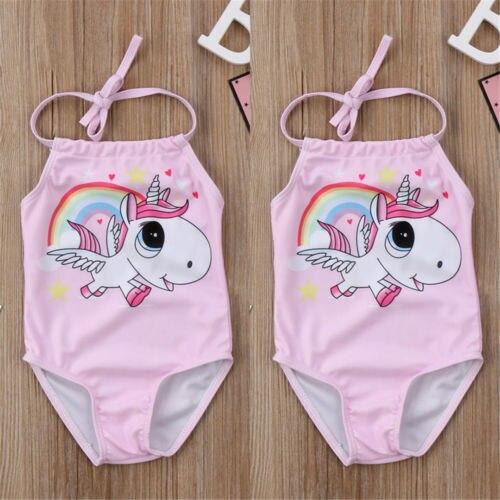 Lindo bebé recién nacido niñas traje de baño caballo de dibujos animados impresión traje de baño halter vendaje traje de baño sin respaldo niño playa biquini