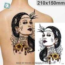 Rocooart Tribal Women Tattoo Sexy Tribe Leader Fake Tatoo Beauty Lady Tatuajes Body Art Temporary Tattoo Sticker Brave Girl Taty