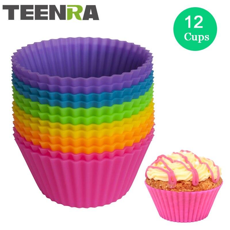 TEENRA 12 pçs/set Redonda Silicone Muffin Cups Forminhas Baking Moldes do Bolo Do Silicone Molde Queque bolo Pan Bakeware