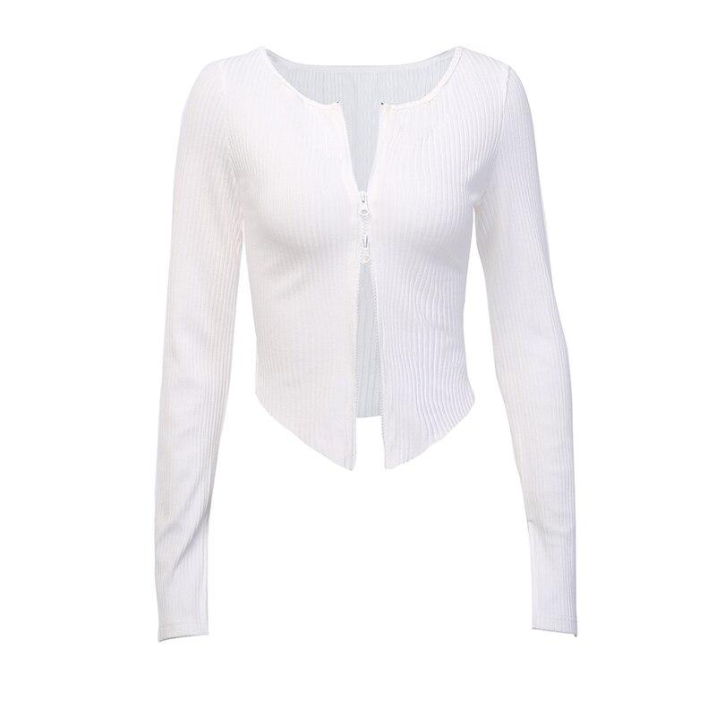 InstaHot White Black Zip Up T-shirt Ribbed Knitted Long Sleeve Strech Irregular Casual Sexy Women Autumn Tops 2019 Streetwear