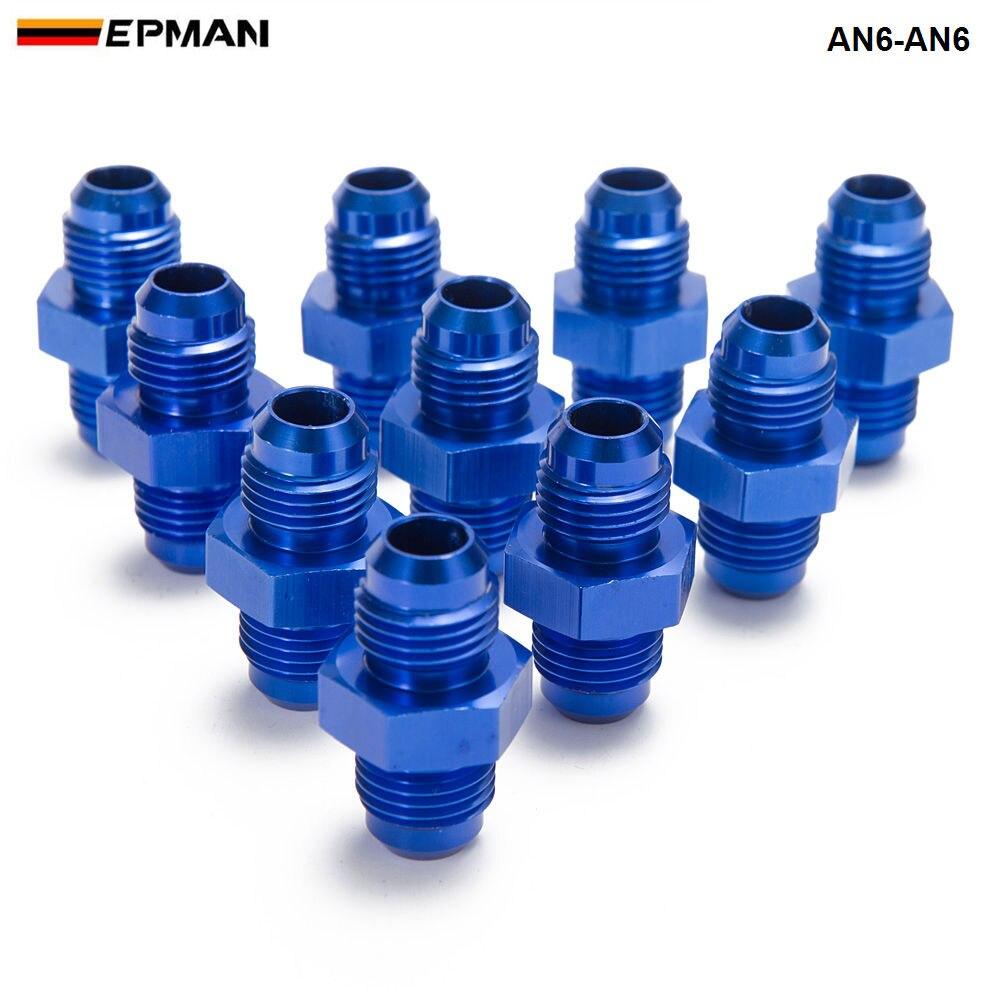 10 unids/lote, Unión de aluminio azul 6AN AN6 Flare, accesorio para manguera, conector, adaptador de ajuste para enfriador de aceite/calibre AN6-AN6