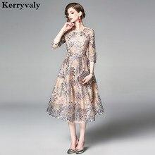 Été élégant femmes brodé dentelle robe Vestidos Verano 2020 robe de noël Sukienki Damskie Bayan Elbise K6245