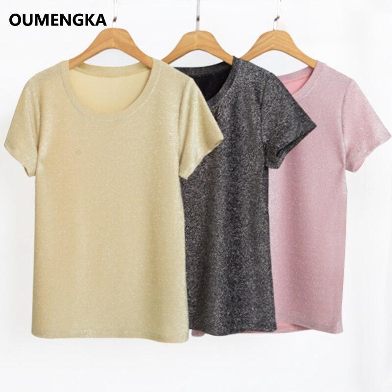 2020 nuevo verano T camisa plata brillante Lurex casuales de las mujeres...