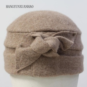 Original 100% Wool Hats For Women Fedoras Solid Dome Floral Warm Mom Bowler Floppy Hat Elegant Female With Autumn Winter