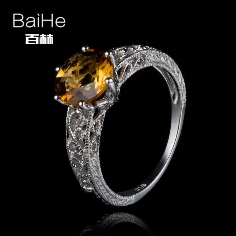 BAIHE Plata de Ley 925 1,6 CT, anillo de compromiso genuino citrino delicado de moda para mujeres, joyería única citrino