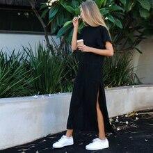 Maxi t-shirt robe femmes robes dété décontracté plage Sexy Boho Vintage pansement élégant moulante noir longue robe de soleil grande taille