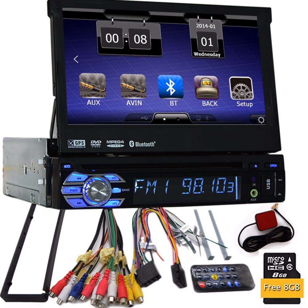 1 Din 7 Zoll Auto Stereo Windows in Dash Einzel Din GPS DVD Player Stereo Bluetooth USB SD AM/FM Lenkrad-steuerung Auto Radio