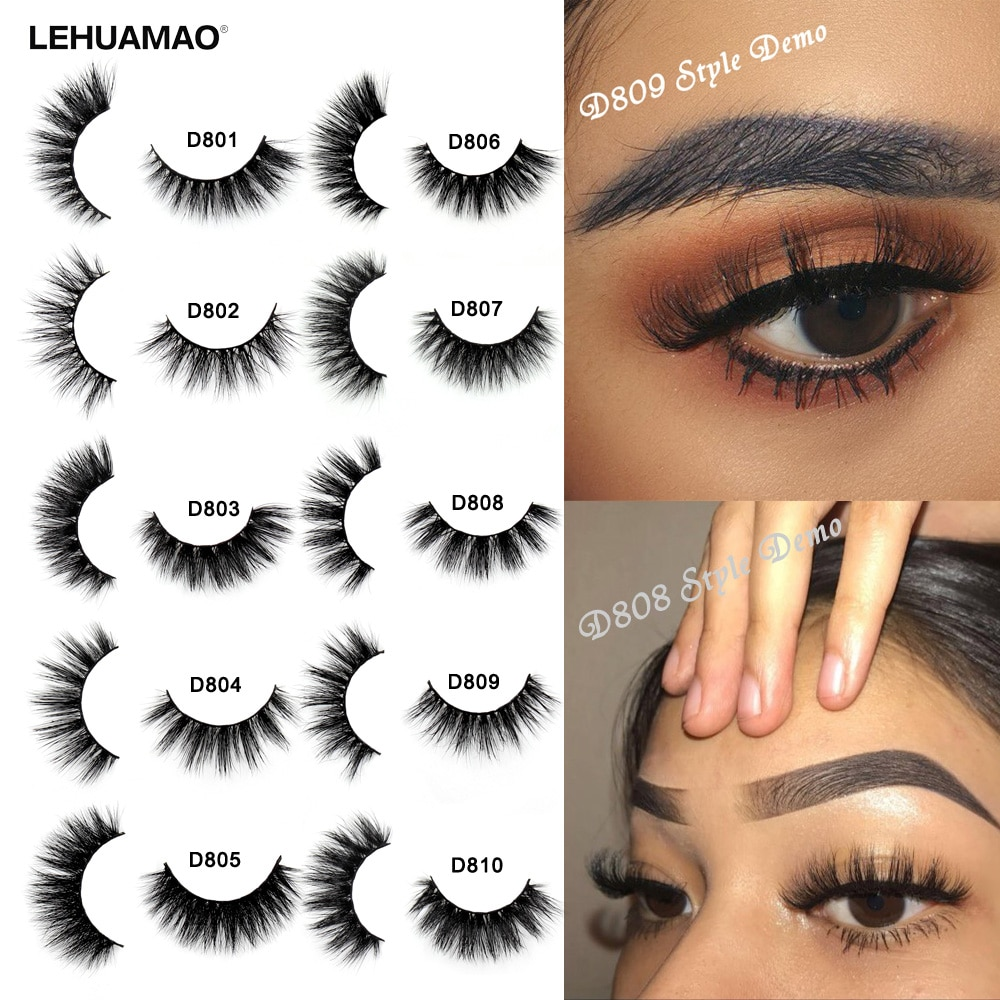 LEHUAMAO Mink Eyelashes 3D Mink Lashes Thick HandMade Full Strip Lashes Cruelty Free Mink Lashes Reusable False Eyelashes Makeup недорого