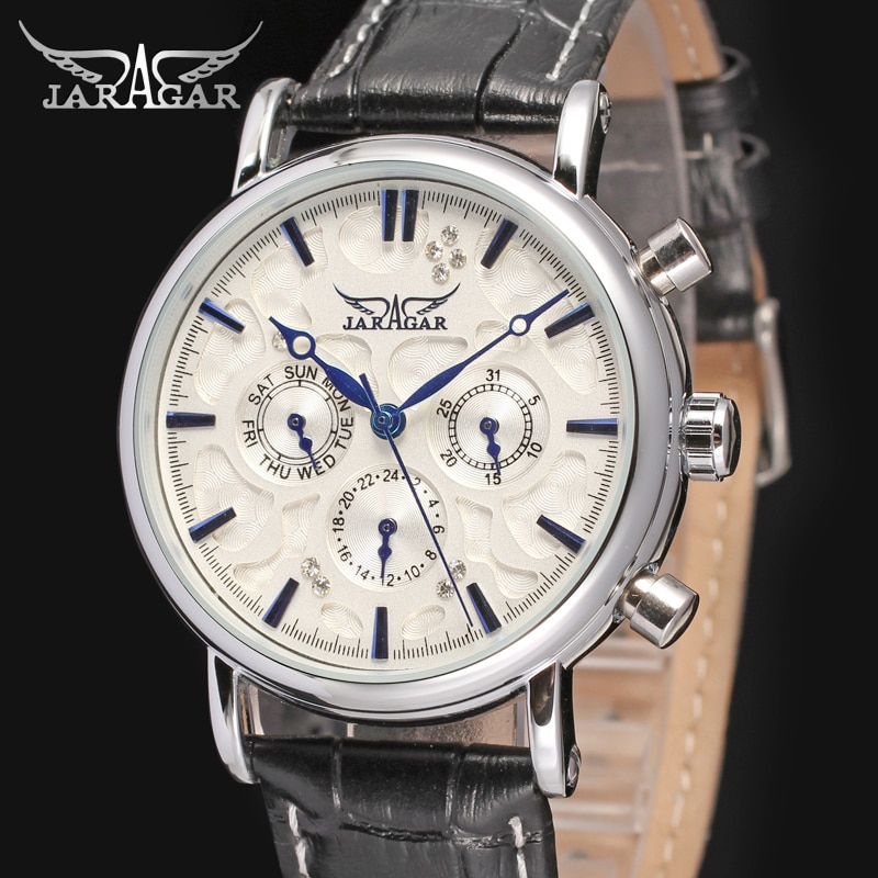 JAG6348M3S2 new popular Jargar  Automatic men watch factory black genuine leather strap best price free shipping with  gift box
