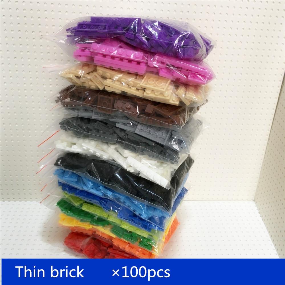 100 pcs/lot Gebäude Block dünne ziegel 8 größe gemischt 15 farben Kompatibel mit marken Pädagogisches Spielzeug für Kinder